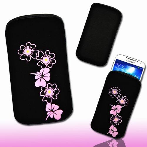 Handy Tasche Soft Touch Neopren schwarz/rosa M47-3 für Samsung Galaxy ACE 2 / Samsung Galaxy ACE Plus / Nokia Lumia 610 / Nokia N9 / Huawei Vison