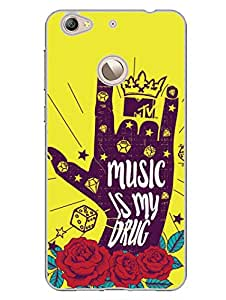 LetV 1S Back Cover - MTV Gone Case - Music Is My Drug - Yellow - Designer Printed Hard Shell Case