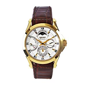 Seiko Men's SRX004 Premier Brown Leather Strap White Dial Watch