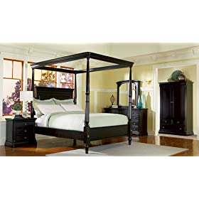Sahara Poster Canopy Queen Size Bed with Cherry Veneers 5pc Set: Includes Queen Bed, Dresser w/Mirror, Drawer Chest, 1 Night Stand