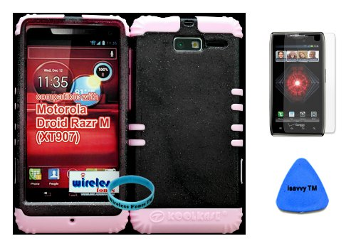 Hybrid Cover Bumper Case For Motorola Droid Razr M (Xt907, 4G Lte, Verizon) Smoke Glitter + Baby Pink Silicone (Included Wristband, Screen Protector And Pry Tool By Wirelessfones) front-982958