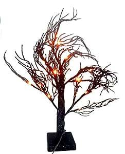 Amazon.com: Black Glitter Halloween Tree with Orange Lights Festive ...