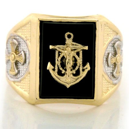 9ct Solid Gold Onyx Mens Ring W/ Anchor & Cross Design