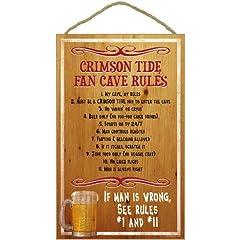 Buy Alabama Crimson Tide Fan Cave Rules Wood Sign by SJT Enterprises