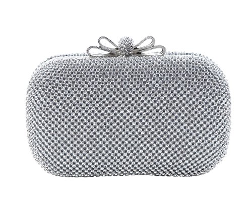 Tina Women's Bowknot Diamonds Beaded Cocktail Party Clutch Purse with Chain Strap Silver