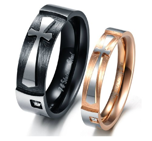 Katgi Fashion Black Ti Titanium Steel Cross Tungsten Crystal Couple Band Ring (Men, 10)