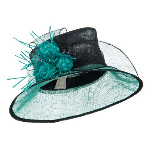 Two Tone Feather Point Sinamay Hat - Navy Turquoise W26S34E
