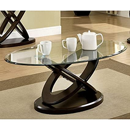 Furniture of America Evalline Oval Glass Top Wood Coffee Table