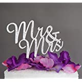 Generic Silver : Gold/Silver Color Mr&Mrs Fancy Custom Rhinestone Crystal Diamante Monogram Wedding Cake Toppers...