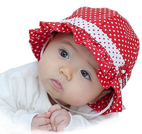 【紫外線からベビーを守る&選べる8色】水玉 可愛い 帽子 つば 付き フリル リボン ドット 花 フラワー フード ベビー キッズ 日焼け 帽子 UV 日よけ (D. 濃ピンク)