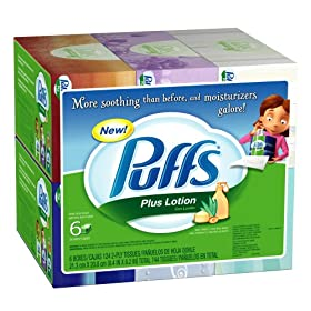 Puffs Plus Lotion Facial Tissues, Family Boxes, 744-Count