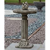 Garden Bird Bath Feeder - Classic Squirrel Stone Birdbath