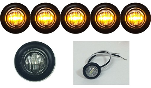 """5 New 3/4"""" Clear/Amber Led Clearance Marker Bullet Marker Lights Good For Trailer Truck Etc With Black Trim Ring"""