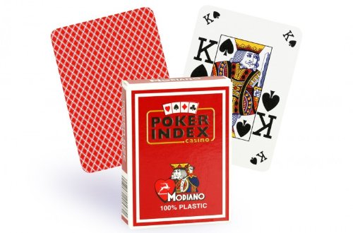 Modiano Italian Poker Game Playing Cards - RED Poker Index - Single Card Deck - 100% Plastic Made in Italy