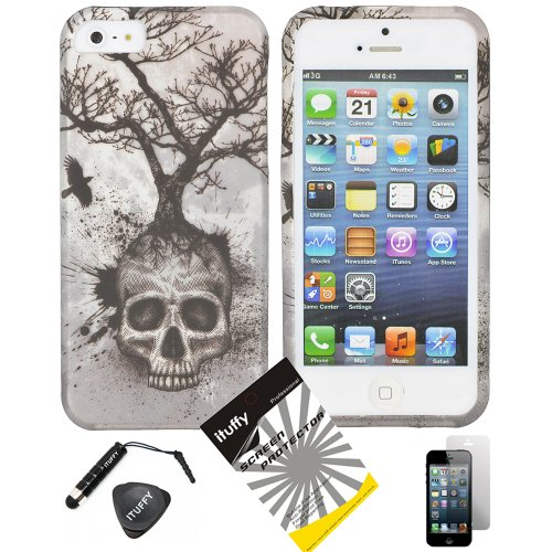 4 items Combo: ITUFFY (TM) LCD Screen Protector Film + Mini Stylus Pen + Case Opener + Silver Blue Greyish Tree Skull Design Rubberized Snap on Hard Shell Cover Faceplate Skin Phone Case for iPhone 5 5s (5th Generation) (Iphone 4 Case Combo Pack compare prices)