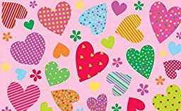 3X5 Area Rug Pink Hearts & Flowers Peace Heart Girly Kids Size 39\
