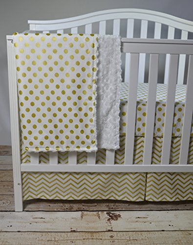 Awesome Lavender Linens Three Piece Metallic Gold Chevron and Dot Crib Bedding Set