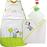 George Giraffe Baby Gift Set - Velour Baby Sleeping Bag, Large Hooded Towel & Comforter By The Dream Bag (0-6 Months - 3.5 tog)