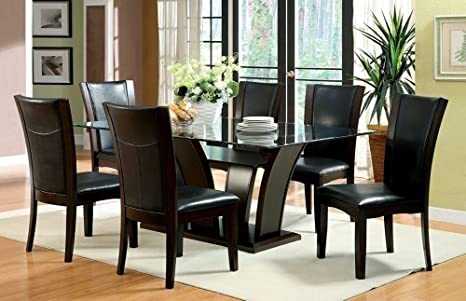 Furniture2go GB3710T + GB3710SC(6) Evans Dark Cherry Finish Dining Table with Glass top and 6 chairs, Assembly Required