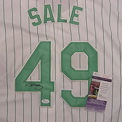 Chris Sale Chicago White Sox Autographed Green Pinstripe #49 Jersey JSA COA