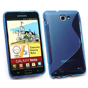 SAMSUNG GALAXY NOTE WAVE PATTERN TPU GEL SKIN COVER/CASE BLUE BY KIT ME OUT UK