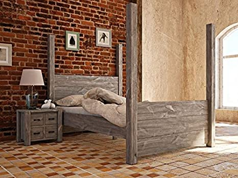 Tagesbett Rustikal 37 massiv grau - Abmessung: 180 x 200 cm