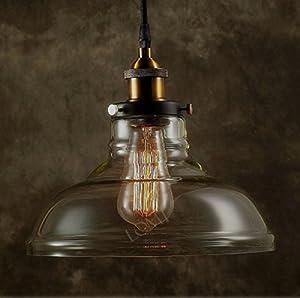 2015 LOMT™ Modern Vintage Industrial Metal Bronze Glass Ceiling Lamp Shade Pendant Light by Lomt Sweden