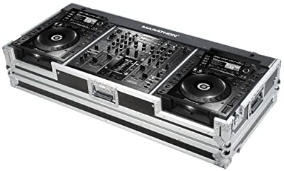 Marathon Flight Road Case MA-DJMCDJ2000W Coffin Holds 2 x Large Format CD Players: Pioneer Mixer with Low Profile Wheels
