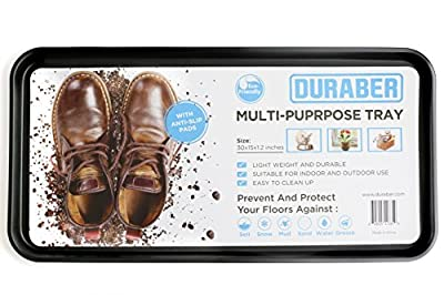 Multi-Purpose Anti-Slip Boot Storage Tray & Utility Floor Mat. Use Indoor or Outdoor For Shoes, Pet Bowls, Plants & Tools. 30 x 15 x 1.2 Inches from Duraber