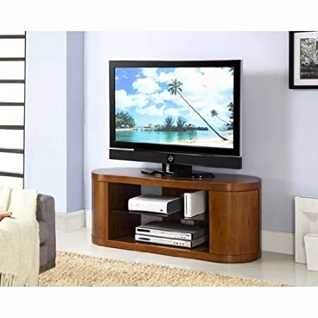Curved Wooden Walnut Veneer LCD/Plasma TV Stand, JF207 [JF207-Jual]