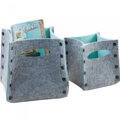 PT Mellow Felted Storage Baskets, Grey/ Pastel Green