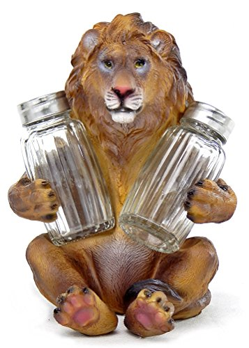 SAFARI LEONINE LION KING SALT PEPPER SHAKERS HOLDER FIGURINE STATUE