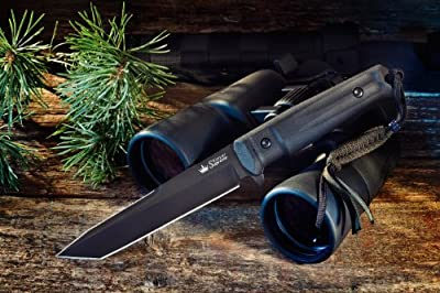 Kizlyar KK0013 Aggressor AUS-8 Russian Made Titanium Tactical Knife, Black from CAS HANWEI :: Combat Knife :: Tactical Knife :: Hunting Knife :: Fixed Blade Knife :: Folding Blade Knife