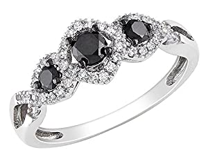 Black and White Diamond Three Stone Ring 1/2 Carat (ctw) in 10k White Gold, Size 7.5