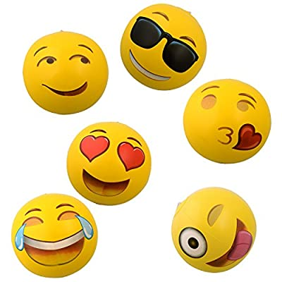 "Emoji Universe: 12"" Emoji Inflatable Beach Balls, 12-Pack from Kangaroo Manufacturing"
