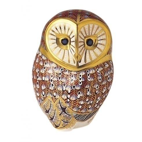 """Royal Crown Derby, Barn Owl Paperweight, 4.5"""" Tall, Bone China, Made in Great Britain. Brand New. 1st Quality."""
