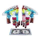 Bubble Blower With Sound - Lights Up LED Transparent Bubble Gun (2 Guns)- 6 Extra AA Batteries -(1 P