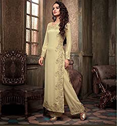 Shree Fashion Woman's Georgette With Dupatta [Shree (78)_Cream]