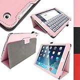igadgitz Pink Rosa PU Ledertasche Hülle Folie für Apple iPad Air 2013 Mit Multi-Winkel Betrachtungs-stand + Auto Sleep/Wake + Displayschutzfolie