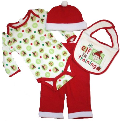 Babygear Unisex Baby Christmas Elf in Training 4 Piece Set, - Size: 3-6 Months