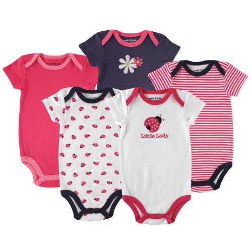 Luvable Friends Hanging 5 Pack Bodysuits, Ladybug, 0-3 Months