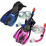 TBF Combo 3 Piece KIDS Set - Mask + Fins + Snorkel Set - Two Bare Feet