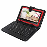 Bundle Offer, New 7 Inch Tablets & Computers Touch Screen Tablet PC with HDMI, Connect to big Screen via HDMI, Android 4.4.4 Kitkat, Quadl core cpu Processor , + Free Black Leather Look USB Keyboard case+ Free anti-Scratch Screen Protector 1.2ghz, 512mb Ram, 4gb Rom,2x Camera, Wifi+3g-Red
