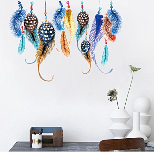 ORDERIN Cyber Monday New Style Creative Colorful Feather Removable Mural Wall Stickers Wall Decal for Kids Room and Living Room Wall Home Decor