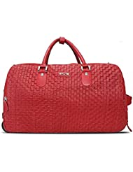 BRUNE Unisex Red Color Genuine Leather Hand Weave Strolley Bag/Designer Leather Duffle Bag/Branded Leather Strolley...