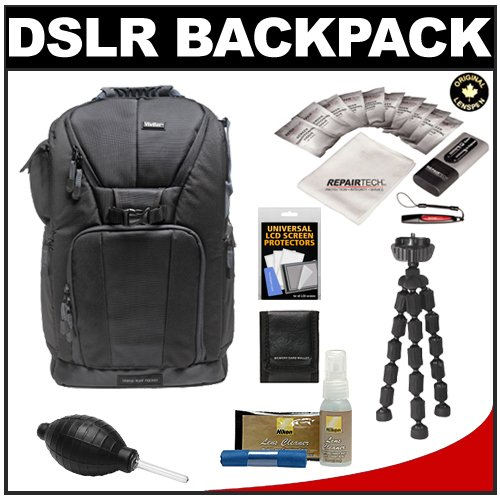 """Vivitar Series One Digital Slr Camera/Laptop Sling Backpack - Small (Black) Holds Most 14'"""" Laptops With 10"""" Spider Tripod + Camera & Laptop Cleaning Kits For Nikon D3100, D3200, D5000, D5100, D7000, D700, D800, D4 Digital Slr Cameras"""