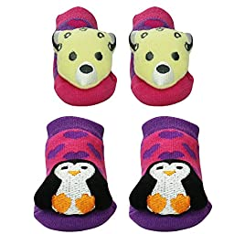 Waddle Baby Girls 2 Pack Rattle Penguin and Cheetah Baby Slipper Socks / Baby Booties, 0-12 Months, Pink and Purple