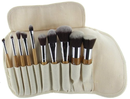 Eta Ultra Natural Goat Hair Premium Makeup Brush Set (10 Pcs, Bamboo)