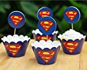 Fatflyshop - 48 Pieces/lot Superman Cupcake Wrappers Cake Toppers Picks Decoration Kids Birthday Party Favors Supplies