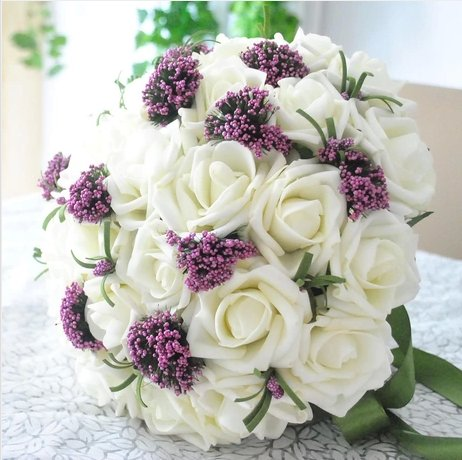 Qishi's Rose Artificial Purple&white Bouquet-bridal Wedding Bouquet 30 Pcs